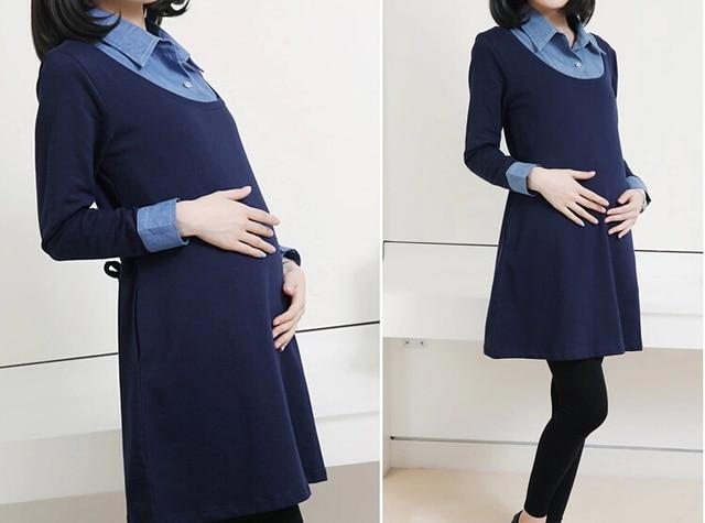 2015 Winter Autumn Denim Patchwork False Two Pieces Maternity Dresses for Pregnant Women,Long-sleeved Dress Pregnancy Clothes