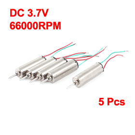Uxcell(R) Hot Sale 5Pcs 3.7V 66000RPM Coreless Micro DC Motor, 4 x 12mm for Airplane Model image