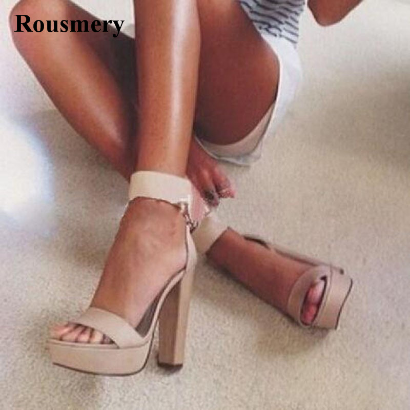 2017 Summer New Fashion Women Open Toe Suede Leather One Strap High Platform Sandals Ankle Strap Thick Heel Sandals Dress Shoes  free shipping women summer newest open toe straps cross high heel sandals orange suede leather thin heel dress shoes