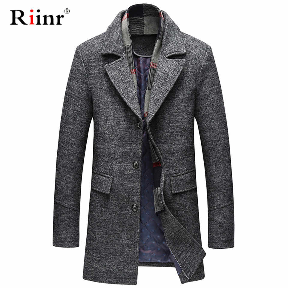 2019 NEW Men Winter Warm Trench Woolen Coat Slim Fit Casual Reefer Jackets Solid Stand Collar Single Breasted Peacoat parka