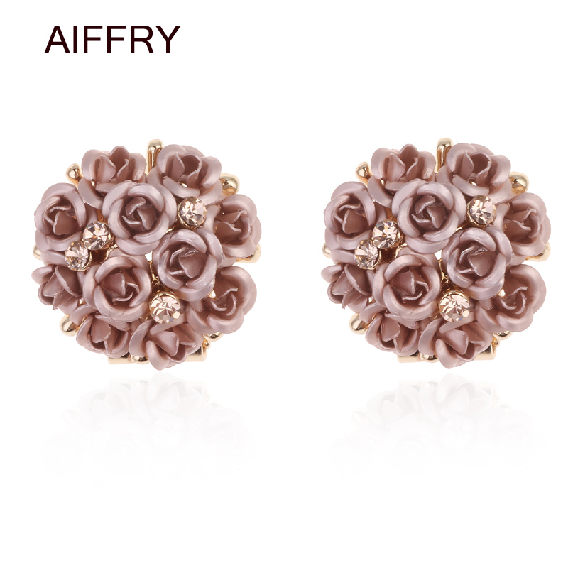 AIFFRY Fashion Coffee Black Runda Bukett Crystal Rose Gold Bröllop - Märkessmycken
