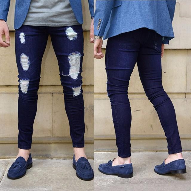 Azul oscuro de los hombres pantalones vaqueros flacos pies desgastados  pantalones nueva moda para hombre flaco c1a0a074382