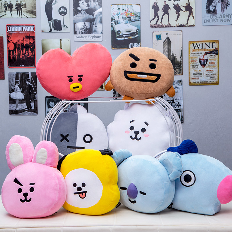 35 cm Original BTS de almohadas Kpop Bangtan niños Bt21 caliente reforzar TATA VAN COOKY CHIMMY SHOOKY KOYA RJ MANG cojín de muñecas