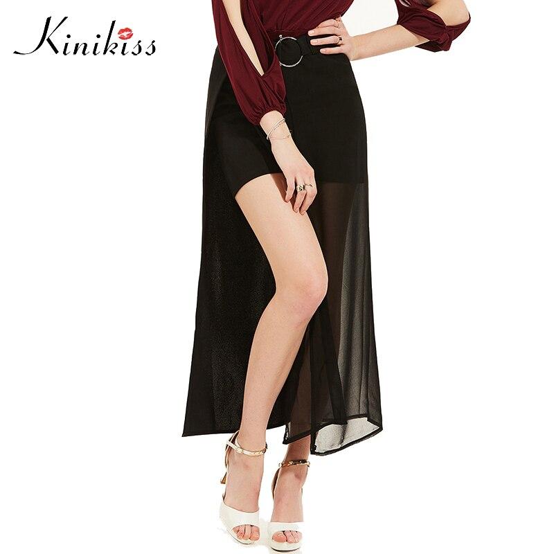 Kinikiss 2017 spring sexy women skirt black sashes summer short skirts fashion solid women mid calf novelty female tulle skirt