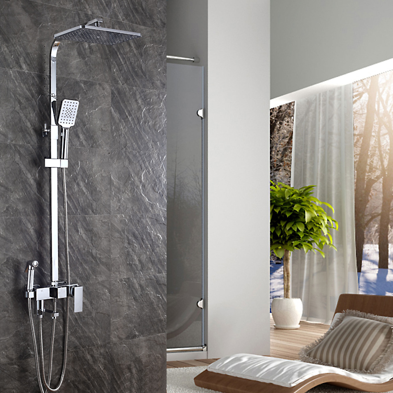 Душевой набор для ванной комнаты, подъемный душевой кран под давлением и смеситель для биде, настенный душевой набор 8 дюймов, квадратный душевой набор