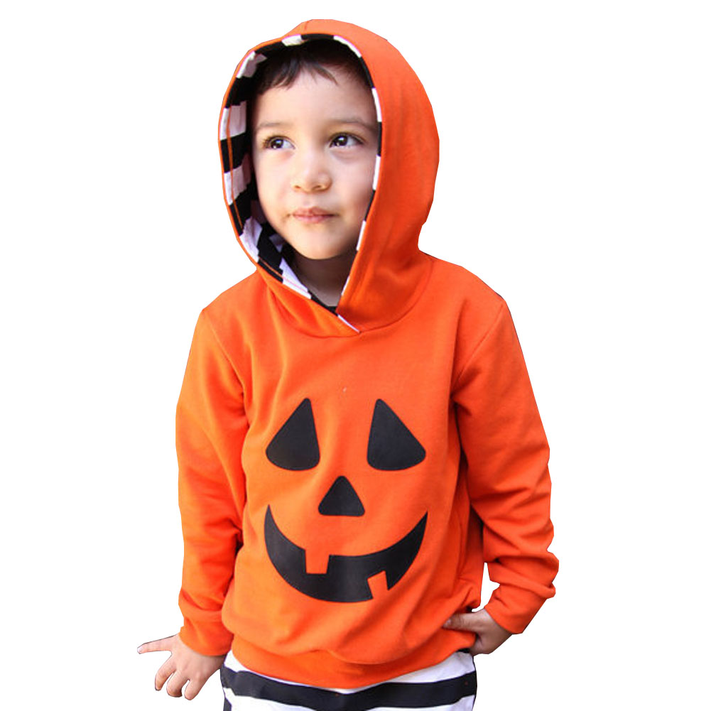 Toddler Cosplay Suit Baby Halloween Pumpkin Costume Children Sleepwear Cotton Long-sleeved Hooded Printing Set