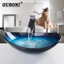 Ouboniコンボセットカウンタートップラウンドタップシンクの蛇口船舶浴室 滝タップ風呂セット蛇口