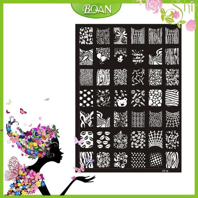 10 Unids Nuevo Diseño BQAN Acero Inoxidable Labios Atractivos/Corazón/Flor de la Serie de Imágenes Nail Plate Estampación XY12