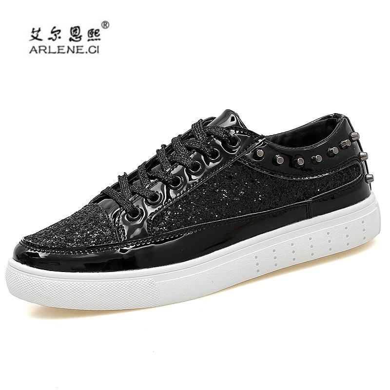 2018 Men s Skateboarding Shoes Glitter Rivets Sneakers Men Women Outdoor  Sports Shoes Shiny Classic Metal Head Skate Shoes Cheap-in Skateboarding  from ... f5705df25746