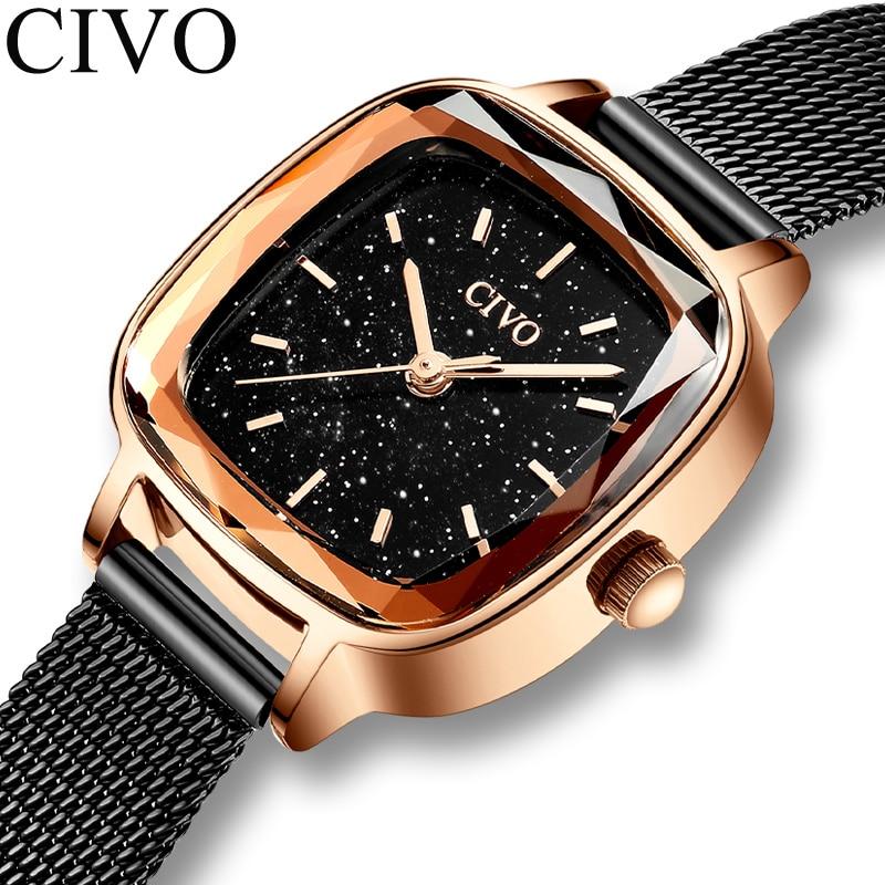 CIVO 2019 New Fashion Top Brand Watch Women Waterproof Ladies Wrist Watches Female Mesh Strap Quartz Clock Relogio Feminino 8102