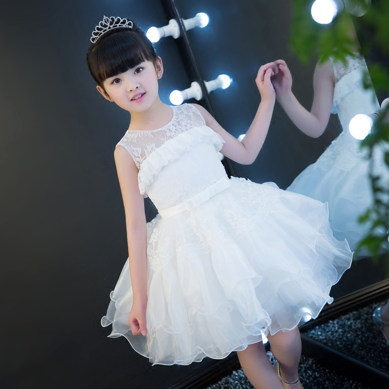 2017New Girls Children White Color Wedding Birthday Formal Party Dress Kids Summer Fashion Princess Lace Ball Gown Pageant Dress 2017 new arrival summer baby girls white color princess dress children kids birthday wedding party dress pageant sweet dress