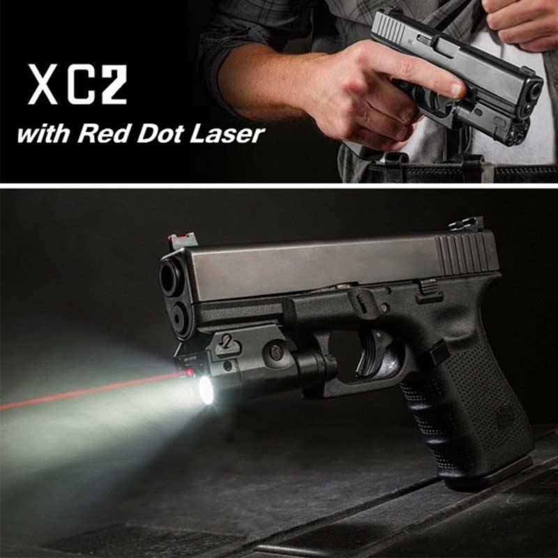 XC2 Ultra Laser Light Compact Pistol Flashlight Combo Red Dot Laser Tactical LED MINI White Light 200 Lumens Airsoft Flashlight цена