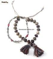 Silver Laser Mix Coffee Brown Beads Friendship Bracelet Tassle