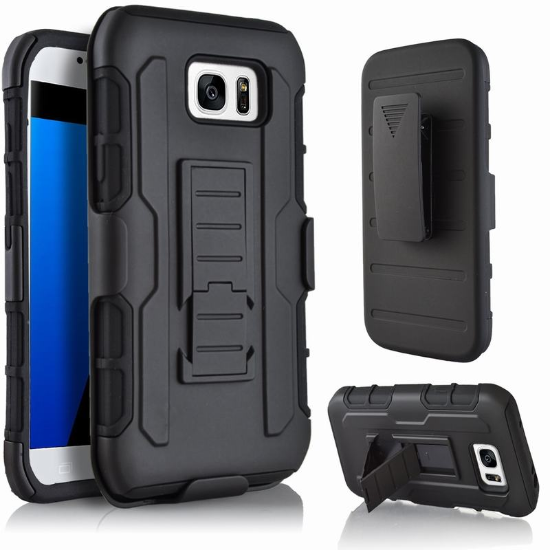 Heavy Duty Защита черный Броня чехол для Samsung Galaxy S6 S7 край S5 S4 <font><b>S3</b></font> <font><b>Neo</b></font> силиконовый чехол и пластиковые 360 стоят