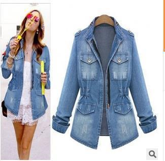 Новые женские джинсовые куртки пальто jaqueta feminina женщины тонкий молнии карманы основные куртки верхняя одежда джинсы пальто большой размер xxxxl