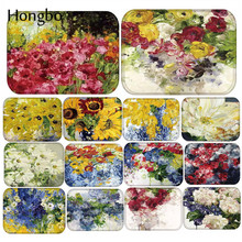 Hongbo Oil Painting Flower Anti Slip Doormats Door Entry Front Mats Outdoor Entrance Indoor Welcome Home