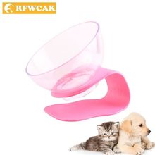 RFWCAK Lift Pet Dog Bowl Anti-slip Cat Dish Pet Feeder Foldable Plastic Oblique Mouth Transparent Pocket-portable Food Container(China)