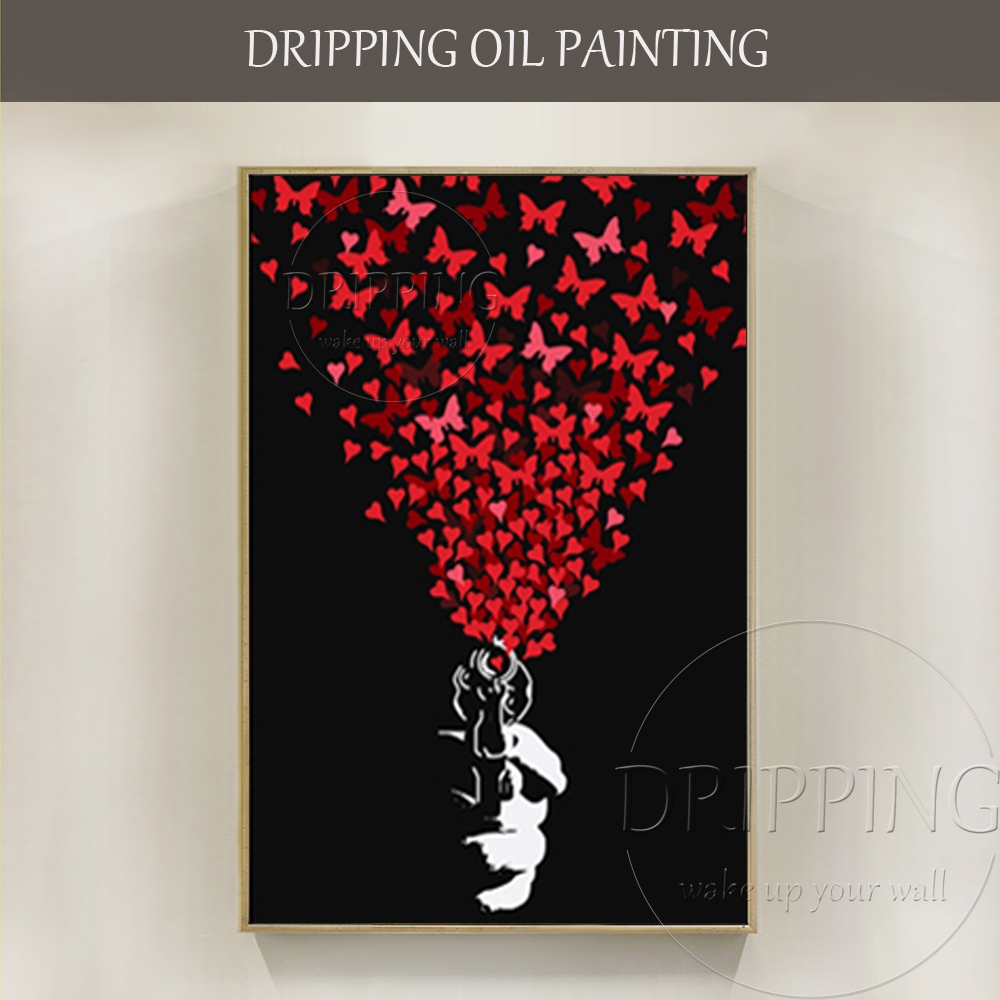 black and red art artist hand painted pistol shooting butterfly and heart oil painting modern