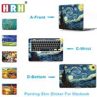 HRH 3 trong 1 Paiting Cho Sticker Macbook Air 11 12 13 Pro 13 15 Võng Mạc Decal Tường Máy Tính Xách Tay Xe Vinyl Logo Skin Matte Boay Palm Guard