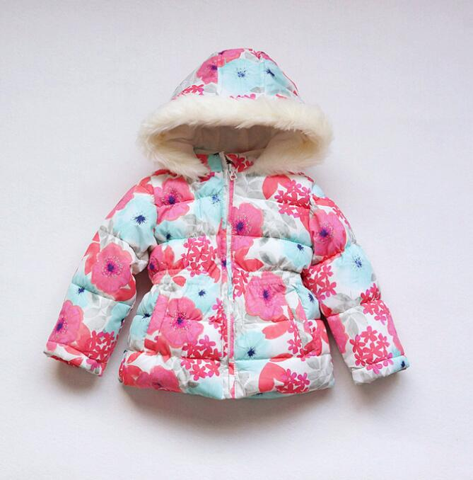 1-5T Girls Baby Thick cotton-padded clothes windbreaker Beautiful flowers Princess Warm hooded outerwear