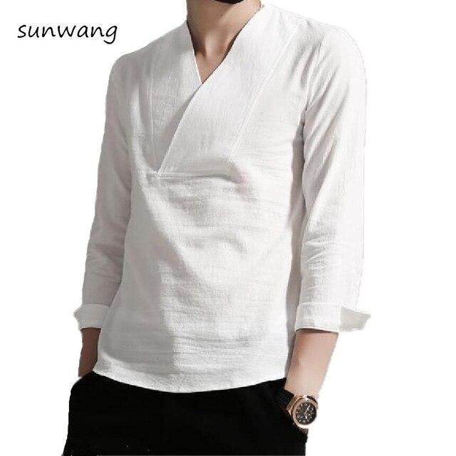 78c464816bd 2019 Повседневное три четверти китайский стиль льняные рубашки Для мужчин  Роскошные рубашка белая хлопковое платье стильные