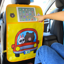 Cartoon Car Backseat PVC Anti-Kick Dirty Mat with IPad Phone Holder