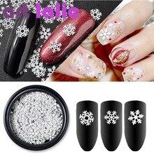 1 бутылка 3D снежинки, блестки для ногтей, хлопья, пайетки, белый смешанный Блеск, Рождественский лак для ногтевого дизайна, маникюрные украше...