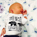 Baby Boy Long Sleeve Bodysuit Infant White  Bear Outfits Baby Girl Letter Cotton Clothes