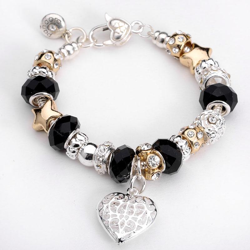 оптовая продажа черных бусин с сердцем прелести хорошей браслет женская мода ювелирные изделия браслет, ювелирные изделия браслет цена низкая