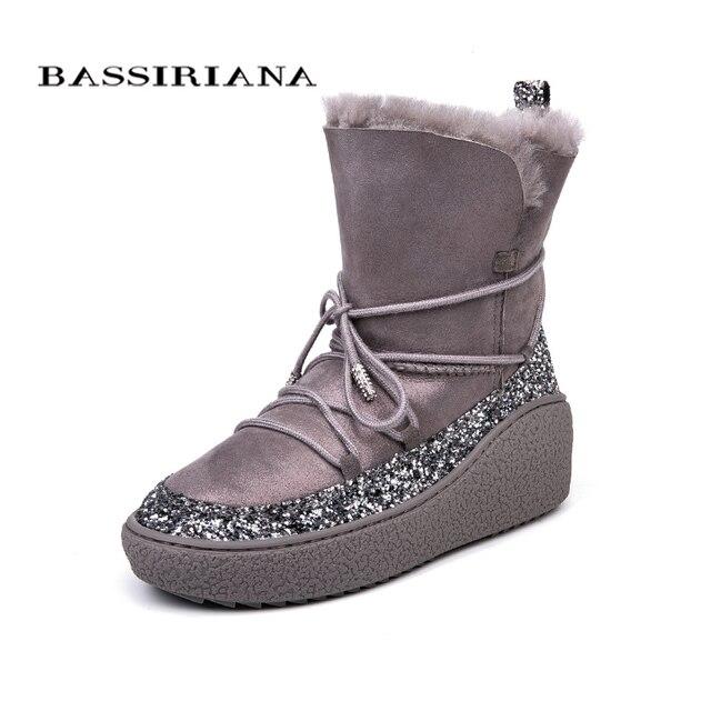 BASSIRIANA/зима Ботинки женские дубленки snowboots черный серый 35-40 Бесплатная доставка