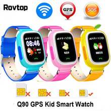 Rovtop Q90 GPS Child Smart Watch Phone Children Watch 1.22inch Color Touch Screen GPS WIFI SOS Baby Smartwatch For Kid(China)