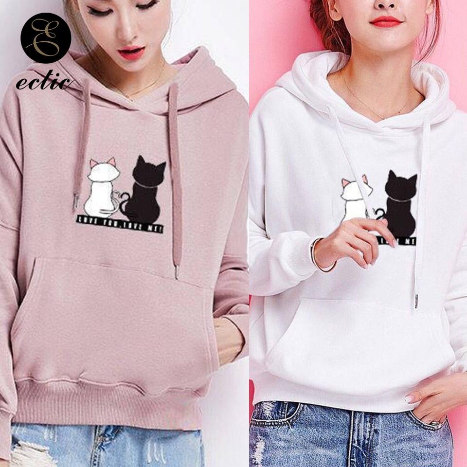 Sweatshirts Women Hoodie Pullover Streetwear Oversized Cat Poleron Korean Kawaii School