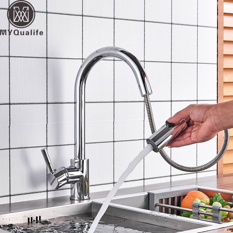 Bright Chrome Kitchen Mixers Pull Out Kitchen Sink Faucet Single Handle Stream Sprayer Shower Head Brass Kitchen Hot Cold Taps chrome pull down bathroom kitchen taps single handle brass hot and cold kitchen sink faucet stream sprayer washing crane faucet