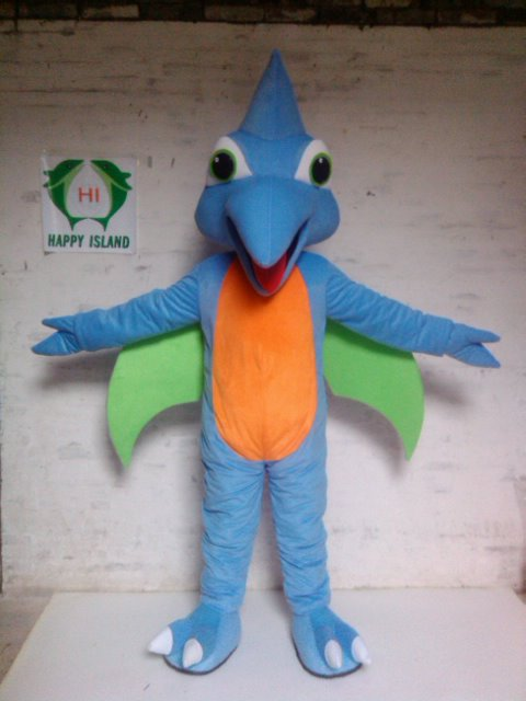 High quality Fancy Blue Woodpecker Mascot Costume Woody Bird Adult With Long Blue Haired Big Yellow Mouth