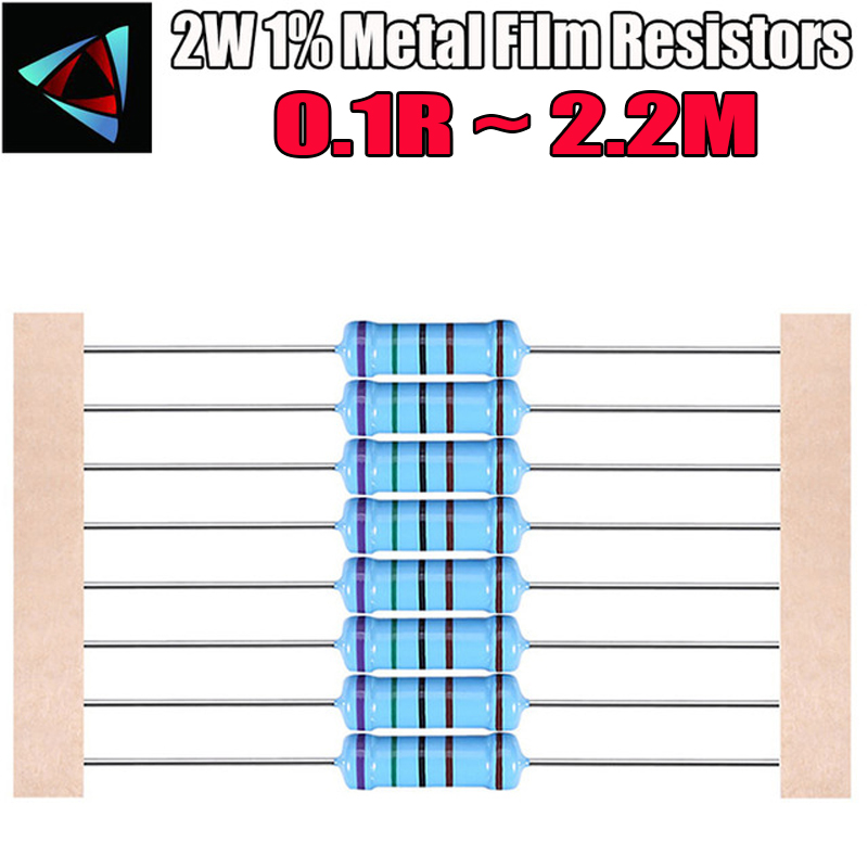 20pcs 2W Metal Film Resistor 1% 0.1R ~ 2.2M 0.1 0.12 0.15 0.18 0.2 0.22 0.24 0.27 0.3 0.33 0.36 0.39 0.43 0.47 0.5 0.56 2.2M Ohm