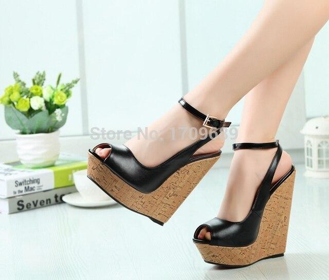 4e5726e0d42 Black wedge sandal women high heel 16CM gold high heels designer 3 CM  platforms shoes women peep toe wedge women sandals size 12