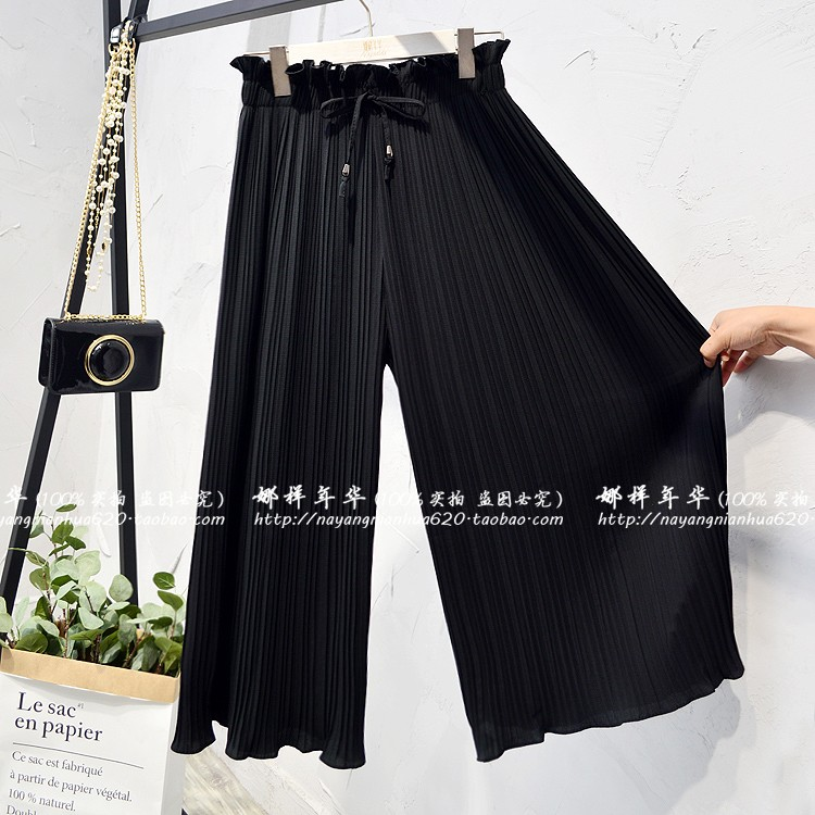 2019 Summer High Waist Lace Up Waist Pleated Pants Women Loose Wide Leg Chiffon Pants Lady Lace Up Waist Ankle Length Pants 47