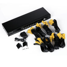 MT-Viki KVM Switch 8 Port VGA USB Auto Scan Hotkey Supported 1U Rack-mount with Original Cable for 8 PC 1 Monitor MT-2108UL