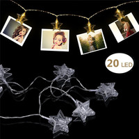 3M 20 Leds Photo Clip String Light Battery Powered Star LED Lights Hanging Picture Card Christmas