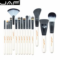 JAF 15 Piece Makeup Brushes Kit Animal Hair Syntehtic Hair White Handle Conveniently Portable Make Up