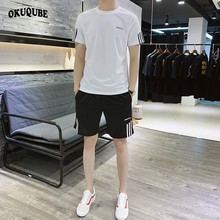 Two Pieces Men Sportswear Elastic Waistband Pockets Black Blue White Red Work Out Clothes Tracksuit Jogging Gym Running Set Male
