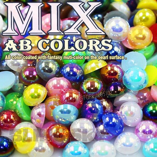 Смесь цветов AB полукруглый Flatback шарики 2 мм 3 мм 4 мм 5 мм 6 мм 8 мм 10 мм имитация ABS Пластик жемчуг для моды DIY Мода Гвозди