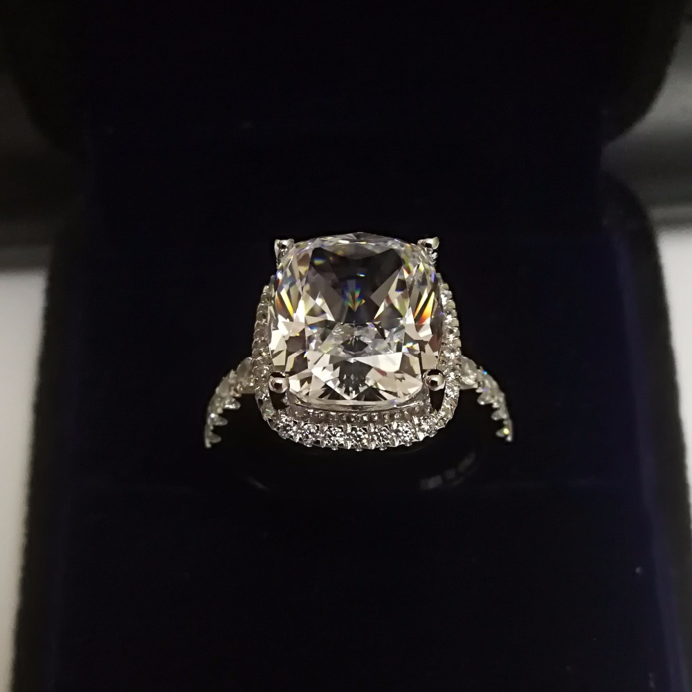 Sparking 5Ct Cushion Cut Diamond Diamond Ring Never Fade Solid 925 Sterling Silver Ring White Gold