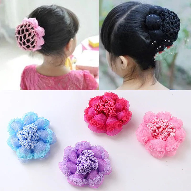 Cute flower girl bun mesh for hair for baby bun net bun cover accessor CPUK