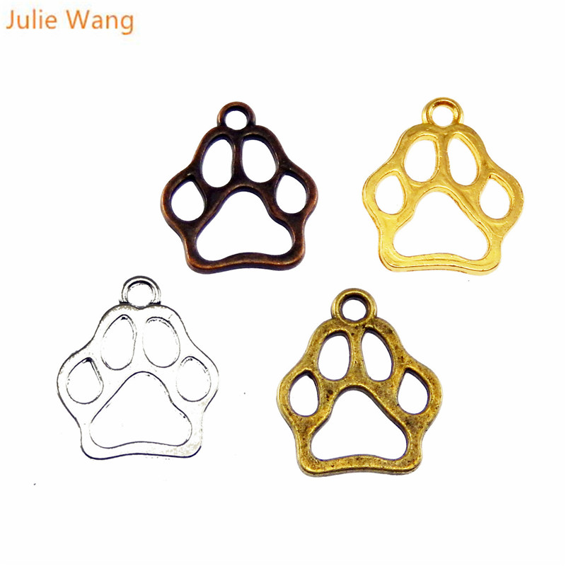 Julie Wang 24PCS Dog Paw Print Charms Zinc Alloy Pet Footprints Mixed 4 Colors Bracelet Pendant Jewelry Making Accessory(China)
