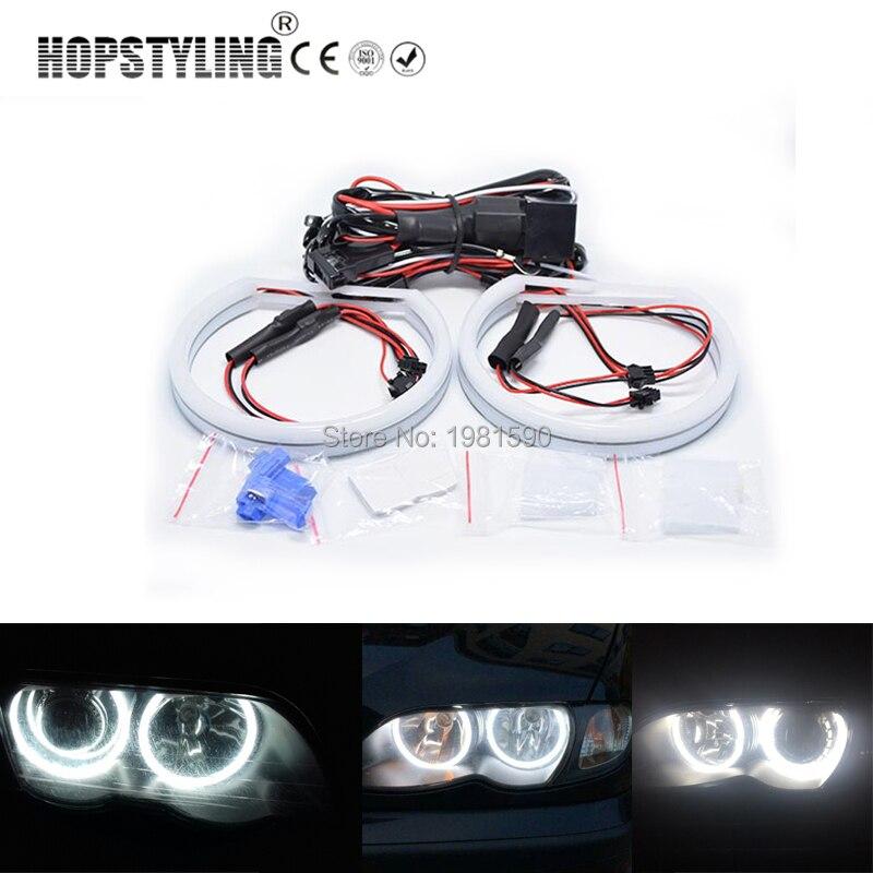 Hopstyling 1 set Coton Lumière Halo anneau Angel Eyes pour BMW E46 non Projecteur 2x131mm 146 De Voiture -style Blanc Phare
