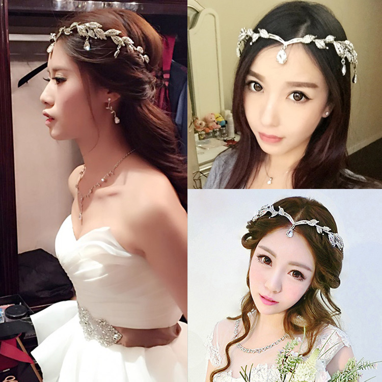 Crown famous brand 3 pieces Headwear + earrings + necklace bride  Crystal Crown headdress jewelry sets Korean wedding girlfriend gift (1)