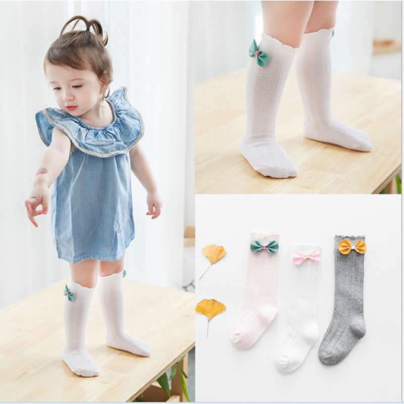 Newborn Kids Girl Boy Socks Elastic Bowknot Pattern Knee High Sock Baby leg warmers Cotton Fashion Socks