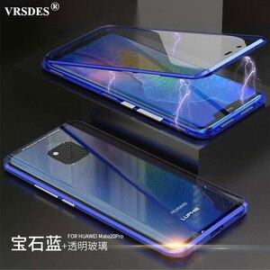 Image 1 - 360 קדמי + אחורי דו צדדי 9 H מזג זכוכית מקרה עבור Huawei Mate20 פרו מגנטי מקרה עבור Huawei mate 20 פרו מתכת פגוש כיסוי