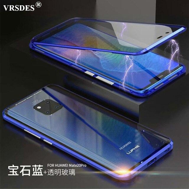 360 קדמי + אחורי דו צדדי 9 H מזג זכוכית מקרה עבור Huawei Mate20 פרו מגנטי מקרה עבור Huawei mate 20 פרו מתכת פגוש כיסוי